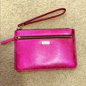 Pink metallic Kate Spade wristlet